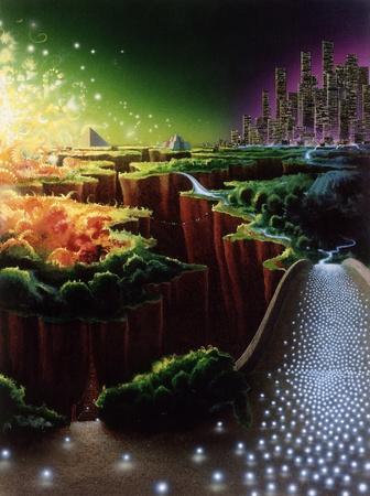 """ordenanza: cuadro surrealista pintado por m�, llamado """"Evoloution de la civilizaci�n"""". Se muestra el desarrollo simb�lico de culturas antiguas y contempor�neas en un ambiente m�stico Foto de archivo"""