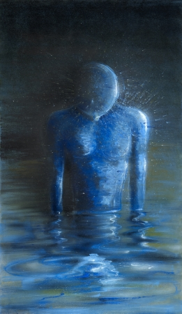 picture painted by me, named Self-reflection, it shows a human figure standing in water ambiance while looking on itself at the reflective water surface Stock Photo