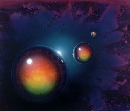 mirroring: picture painted by me called agravic, it shows three mirroring balls in colorful spacy ambiance