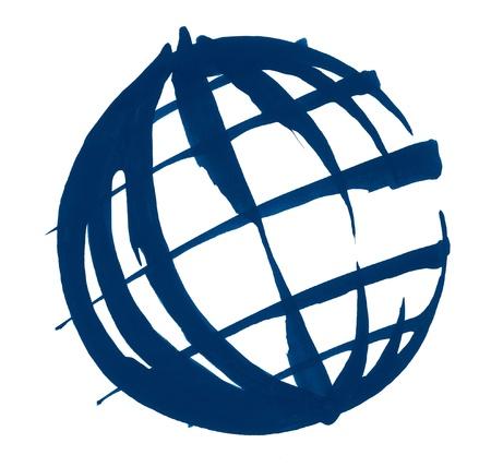 globe terrestre dessin: coup de pinceau et au crayon illustration sommaire d'un globe dans le dos blanc