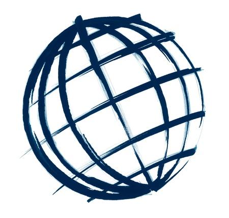 globe terrestre dessin: Illustration coup de pinceau et au crayon sommaire d'un globe dans le dos blanc Banque d'images