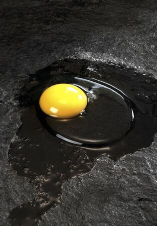 strange picture showing a a raw sunnyside up egg on black stone surface photo