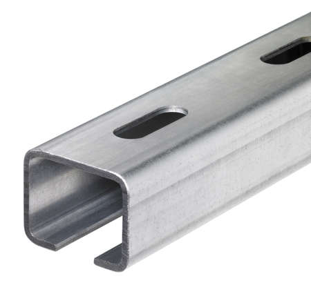 mounting holes: detail of a metallic mounting rail in white back