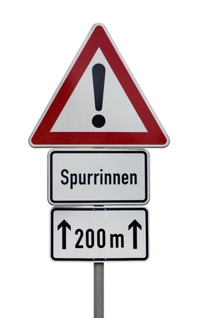symbolization: german attention sign isolated on white Stock Photo