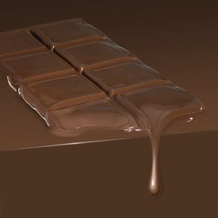 barra de fusión del chocolate se escurra en el ambiente de chocolate