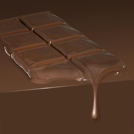 smeltende reep chocolade van druppelen in chocolade ambiance