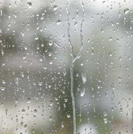 detail of roll off raindrops on window glass Stock Photo - 10968080