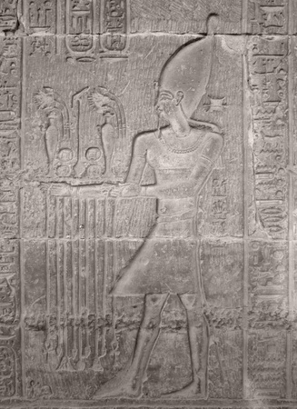 detail of a historic stone relief showing a Pharao in Egypt photo