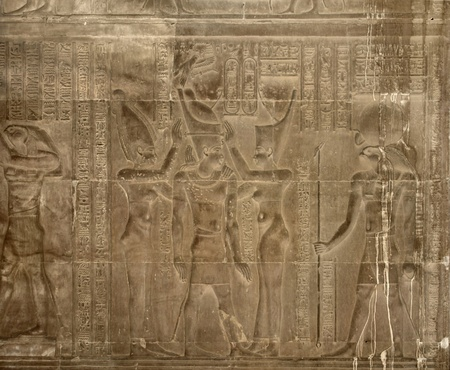 detail of a historic relief at the ancient Temple of Kom Ombo in Egypt (Africa)