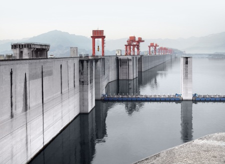 the Three Gorges Dam at Yangtze River in China photo