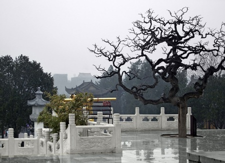 chinese courtyard: rainy scenery at Xian in China