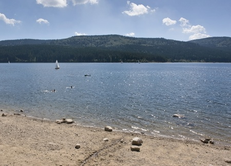 sunny scenery around the Schluchsee, a lake in the Black Forest (Southern Germany) at summer time photo