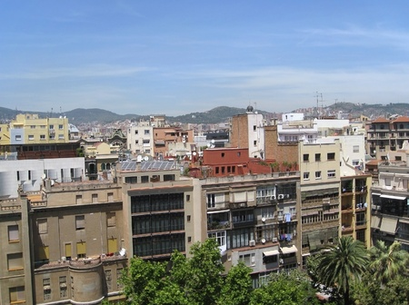 city view of Barcelona (Spain) in sunny ambiance Stock Photo - 11964752
