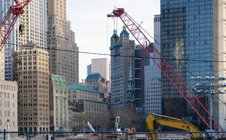 allegory painting: city view of New York (USA) showing a big construction site surrounded by skyscrapers at Ground Zero