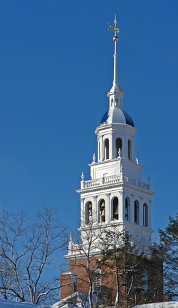 middlesex: architectural detail in Cambridge (Massachusetts, USA) showing a white tower in front of blue sky