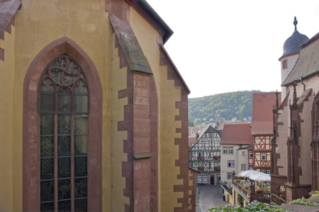wertheim: detail of the Kilianskapelle and Stiftskirche in the Old Town of Wertheim am Main (Southern Germany) Editorial