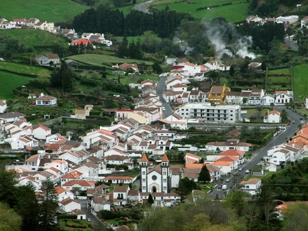 agriculture azores: aerial view of a town at S