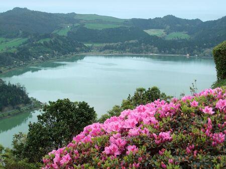 agriculture azores: detail of a lake named lagoa das sete cidades at S