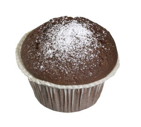 small brown cake with powdered sugar in white back with clipping path Stock Photo - 10917220