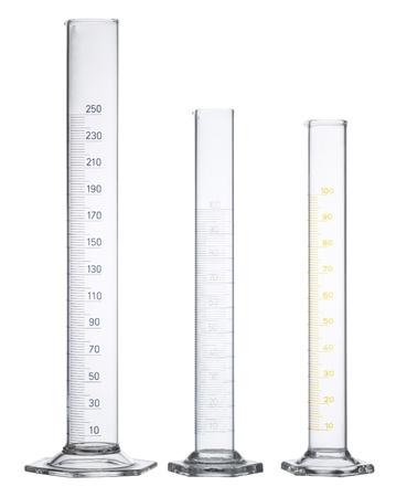실린더: 흰색 다시에서 유리로 만들어진 3 빈 측정 실린더 스톡 사진