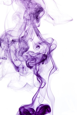 particulates: abstract picture showing some violet smoke in white back