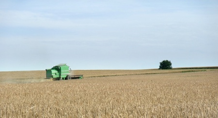 wide agricultural scenery including a green harvester at work at summer time in Southern Germany photo