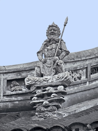 jade buddha temple: architectural detail including a historic stone sculpture at the Jade Buddha Temple in Shanghai (China) Stock Photo