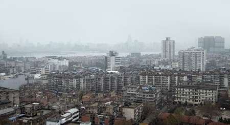 detail of Wuhan, a big city in China. high angle shot in misty ambiance Stock Photo - 11951955