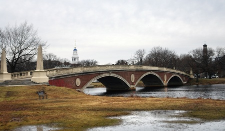 middlesex: the Harvard footbridge in Cambridge (Massachusetts, USA) with clouded sky at early winter time