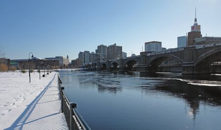 sunny scenery in Boston (Massachusetts, USA) at winter time photo