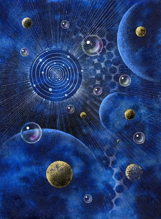 "picture painted by me, named ""Corona"", it shows a corona-like structure, planets and bubbles in blue spacy back"