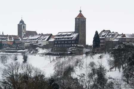 idyllic winter scenery of  Waldenburg, a small city in Hohenlohe located in Southern Germany photo