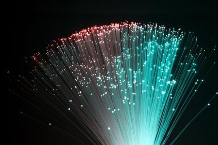 colorful illuminated plastic optical fibers in dark back photo