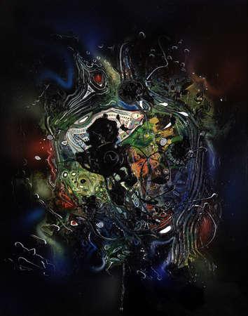 """zero gravity: quadro astratto dipinto da me chiamato """"formazione Chaos"""", mostra le strutture colorate in un ambiente spazioso"""