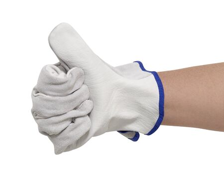 signaling hand gloved with a light grey working glove.Studio shot in white back Stock Photo - 10964766