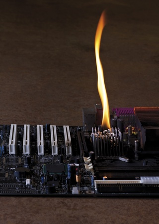 main board: detail of a burning main board located in rusty ambiance