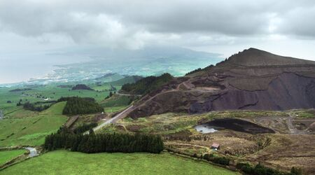 panoramic aerial view in cloudy ambiance at Sao Miguel Island photo