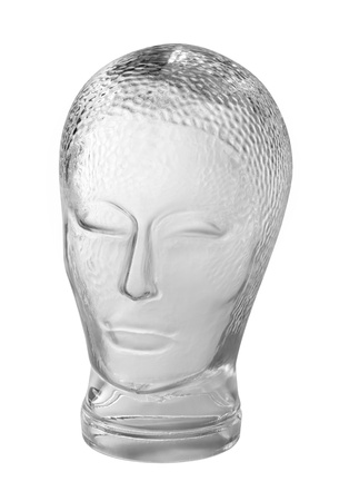 generic location: profile shot of a generic human dummy head made of glass in gradient  grey back