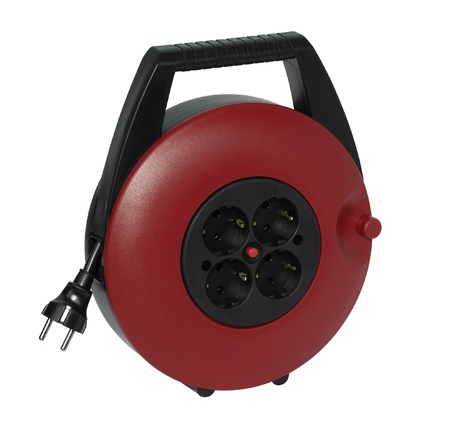 studio photography of a red cable reel made of plastic in white back photo