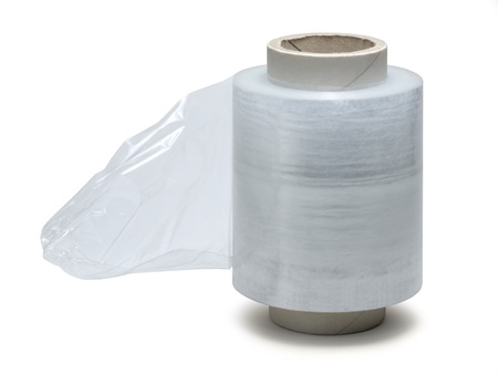 studio photography of a roll of stretch film isolated on white with clipping path