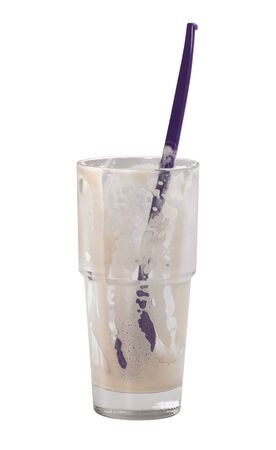 studio photography of a glass of finished latte macchiato in white back Stock Photo - 10959525