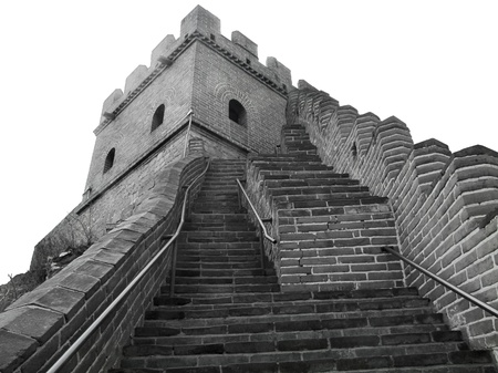 surrounding wall: black and white picture at the Great Wall of China near Badaling Stock Photo
