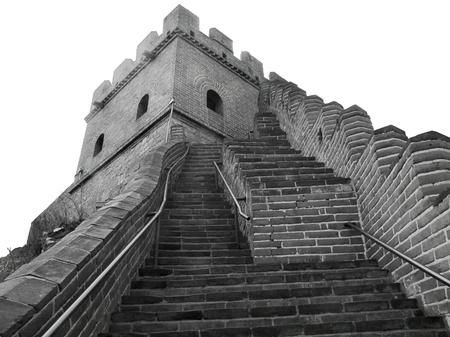 badaling: foto in bianco e nero presso la Grande Muraglia della Cina nei pressi di Badaling Archivio Fotografico