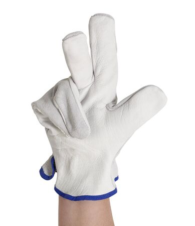 hand showing 3 fingers, gloved with a light grey working glove.Studio shot in white back Stock Photo - 10984848