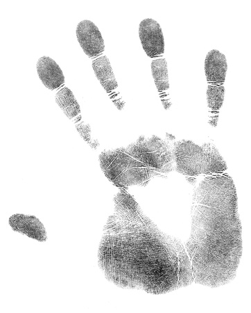 fingermark: black print of a hand and fingers Stock Photo