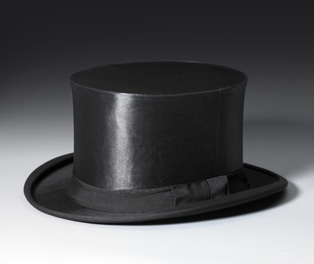 magical equipment: symbolic picture with a black top hat in gradient back
