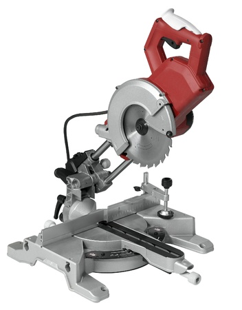 studio photography of a circular saw in white back photo
