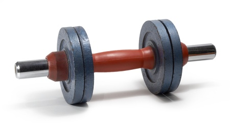 adjustable dumbbell: studio photography of a red and blue dumbbell isolated on white with clipping path Stock Photo