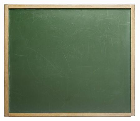 home schooling: frontal shot of a old used blackboard in white back
