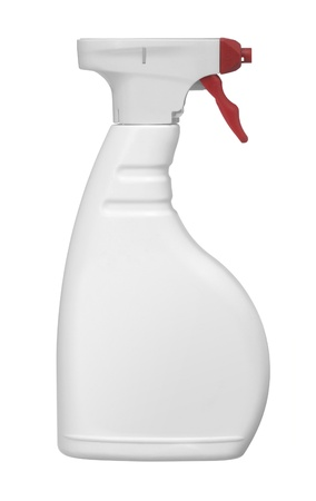 ejector: studio photography of a white spray bottle with red tip in white back